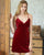 Deep V Neck Velvet Sleepwear Pyjamas Slip Dress