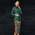 Tea Length Suede Traditional Cheongsam Floral Chinese Dress