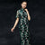 Floral Heavy Embroidery Illusion Sleeve Tea Length Cheongsam Chinese Dress