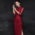 Illusion Sleeve Tea Length Floral Lace Cheongsam Chinese Evening Dress