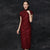 Cap Sleeve Tea Length Cheongsam Chinese Evening Dress