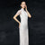 Illusion Neck & Sleeve Heavy Embroidery Cheongsam Chinese Evening Dress