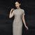 Traditional Signature Cotton Cheongsam Chinese Dress with Stripes Pattern