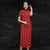 Short Sleeve Tea Length Floral Cheongsam Bodycon Qipao Dress