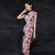 Cap Sleeve Stretch Silk Floral Cheongsam Traditional Qipao Dress