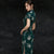 Short Sleeve Long Floral Cheongsam Traditional Qipao Dress