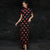 Short Sleeve Polka Dots Pattern Cheongsam Chinese Qipao Dress
