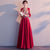3/4 Sleeve V Neck Floral Embroidery Long Chinese Wedding Party Dress