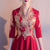 3/4 Sleeve V Neck Floral Embroidery Short Chinese Wedding Party Dress