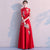 Pleated Skirt Long Chinese Wedding Party Dress with Phoenix Appliques