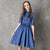 Lace Sleeve Lapel Collar Retro Chinese Style Jeans Dress