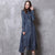 Long Sleeve Tea Length Chinese Style Jeans Dress