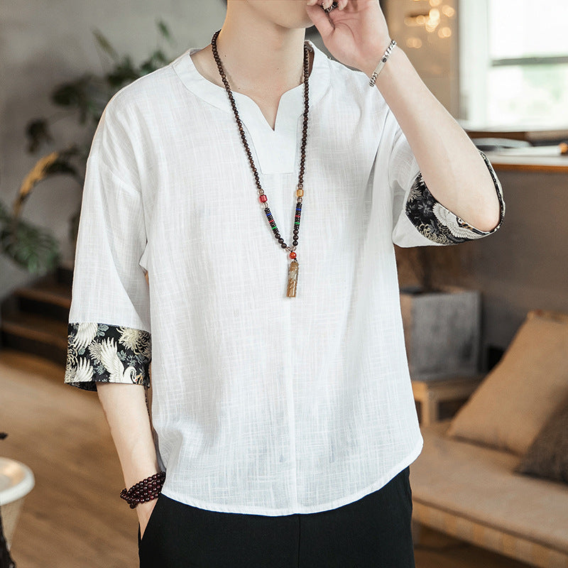 60d604e5a3c V Neck Signature Cotton Chinese T-shirt with Brocade Cuff