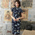 Cap Sleeve Butterflies Pattern Retro Cheongsam Silk Chinese Dress