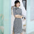 Half Sleeve Knee Length Suede Modern Cheongsam Chinese Style Plaids Dress