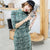 Half Sleeve Knee Length Suede Modern Cheongsam Chinese Style Day Dress