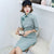 Knee Length Ruched Pattern Suede Modern Cheongsam Chinese Style Day Dress