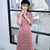 Half Sleeve Knee Length Floral Suede Retro Cheongsam Chinese Dress