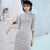 Half Sleeve Knee Length Suede Retro Cheongsam Chinese Style Plaids Dress