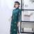 3/4 Sleeve Knee Length Floral Woolen Cheongsam Chinese Dress