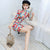 Half Sleeve Clouds Pattern Cheongsam Spandex Chinese Dress