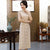 Short Sleeve Floral Lace Cheongsam Tea Length Chinese Dress