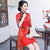 Half Sleeve Cheongsam Top Floral Knee Length Ao Dai Dress