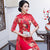 Mandarin Collar Half Sleeve Cheongsam Top Floral Ao Dai Dress