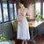 Half Sleeve Cheongsam Top Full Length Floral Ao Dai Dress