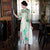 Half Sleeve Cheongsam Top Full Length Floral Silk Ao Dai Dress