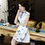 Cap Sleeve Cheongsam Top Knee Length Floral Ao Dai Dress