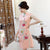 Key Hole Neck Cap Sleeve Cheongsam Top Floral Ao Dai Dress