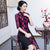 Half Sleeve Cheongsam Top Knee Length Floral Lace Ao Dai Dress