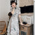 Half Sleeve Floal Lace Appliques Tea Length Aodai Chinese Dress