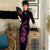 Phoenix & Floral Embroidery Full Length Retro Velvet Cheongsam Qipao Dress
