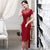 Floral Embroidery Full Length Cheongsam Mother Dress Evening Gown