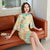 Deer Pattern Trumpet Sleeve Modern Cheongsam Qipao Day Dress