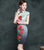 Mandarin Collar Silk Blend Cheongsam Knee Length Floral Chinese Dress