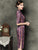 Half Sleeve Silk Blend Cheongsam Knee Length Striped Chinese Dress