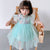 Ruffle Sleeve Cheongsam Top Tulle Bubble Skirt Kid's Dress
