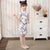 Wintersweet Pattern Mandarin Collar Cap Sleeve Girl's Cheongsam Mini Chinese Dress