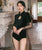 Chinese Style Cheongsam Top Chinlon One-piece Swimsuit with Illusion Sleeve