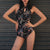 Cheongsam Style Halter Top One-piece Floral Swimsuit