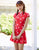 Cheongsam Top Pleated Skirt 2-pieces Floral Swimsuit