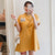 Plus Size Knee-length Modern Cheongsam Dress with Kitten Embroidery Applique
