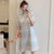 Plus Size Knee-length Modern Cheongsam Striped Dress