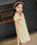 Stretchy Kid's Cheongsam Knee Length Floral Chinese Dress