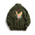Crane Embroidery Stand Collar Camo Fleece Unisex Chinese Style Jacket