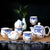 Blue & White Porcelain Kung Fu Tea Set Cups & Teapot 7 Pieces