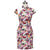 Knee Length Cotton Cheongsam Floral Chinese Dress with Lace Shoulder